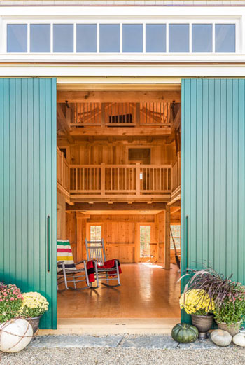 Timber frame barn with sliding doors
