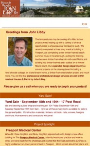 Newsletter Summer 2015 Houses & Barns by John Libby