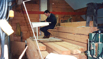 Peter Truslow working on timbers